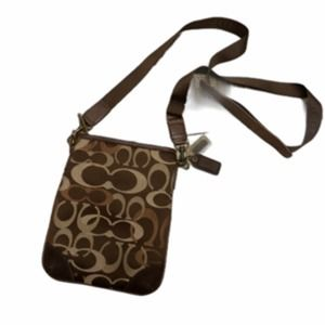 Coach Signature Logo Coated Canvas Crossbody Brown